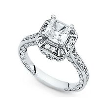 Engagement Ring Vintage Style Square Cz 14k Yellow Or White Gold Princess Cz
