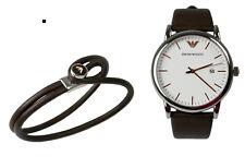 EA Emporio Armani Herren Set AR80006 Armbanduhr + Armband Leder Braun Edelstahl