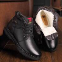 Mens Winter Warm Leather Ankle Snow Boots Casual Fur Lined Thicken Lace Up Shoes
