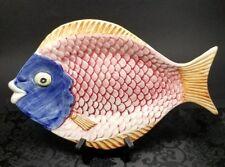 Vintage Portugal Majolica Art Pottery Ceramic Fish Plate Dish Platter #633