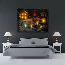 20'' LED Light-up Snow Deer Log Cabin Canvas Art Picture Print Home Wall Decor