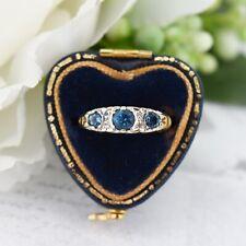 Vintage London Blue Topaz and Diamond Three Stone Trilogy 9ct Gold Scroll Ring