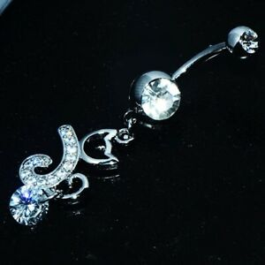 Long Flower belly ring Dangle Drop Button navel piercing body jewelry Womens