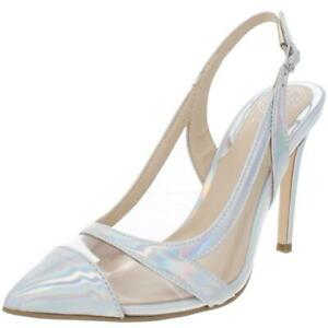 Guess Womens Chaffee 2 Transparent Ankle Slingback Heels Shoes BHFO 0018