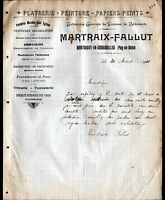 """MONTAIGUT-en-COMBRAILLES (63) Ets PLATRERIE PEINTURE """"MARTRAIX & FALLUT"""" en 1910"""