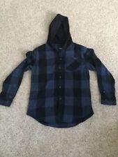 NWT UNIVIBE Mens XLARGE Blue Black Check Hoodie Button Down Sweatshirt