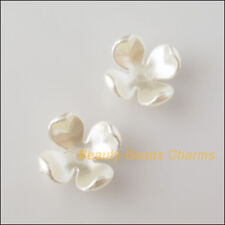 20Pcs White Plastic Acrylic Flower Star Spacer End Beads Caps Charms 14mm