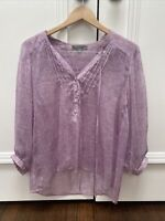 Love21 By Forever 21 Blouse 3/4 Sleeve Boho Top size Medium M Button Down Front