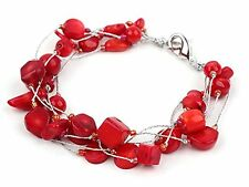 Stunning Multi-Strand Red Coral Bracelet with Silver Color Wire