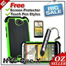 AU Heavy Duty Shock Proof Series Case Green For HTC ONE X XL Free Film & Stylus