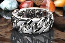 31MM Mens Chain Boys Silver 316L Stainless Steel Huge Heavy Curb Link  Bracelet
