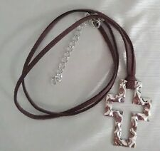 """Brown Suede Cord Hammered Silver Cross 10"""" Necklace 2-1/2"""" Silver Extender NWT"""