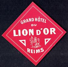 Luggage Label ~ Grand Hotel Du Lion D'Or ~ REIMS FRANCE ~ Lion Crest