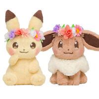 2 Type Japan Pokemon Center Easter Flower pikachu & Eevee Plush Toy Doll Xmas