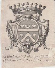 Bourgogne : Ex-libris Bénigne-Guillaume-Elisabeth BOUILLET - Dijon - XVIIIe s.