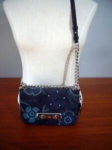COACH SWAGGER SHOULDER BAG 20 24968 Navy Floral Suede Leather EC LN $395.00