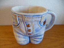 "Denim Jeans Coffee Mug   Byron Molds   Gold Buttons    1977    4 1/4"""