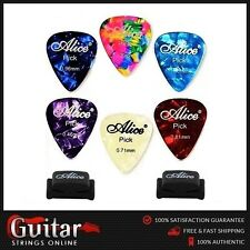 6 X Alice Mixed Gauge Premium Celluloid Guitar Picks 2 Rubber Pick Holders