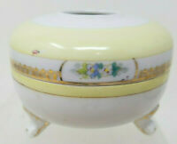 Vintage Hand Painted Nippon Hair Receiver Yellow Floral Gold Japanese