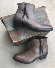 MOMA Italy Ankle Boots Vintage Grey Brown Leather Dual Side Zip Shoes 38.5 WOW