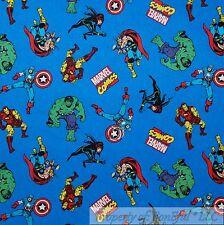 BonEful Fabric Cotton Quilt Blue VTG Comic Green Hulk Captain America Star SCRAP