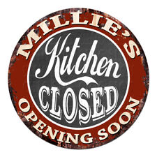 Cwkc-0655 Millie'S Kitchen Closed Chic Tin Sign Decor Mother's day Gift