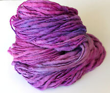 Hand Dyed Yarn Falkland Wool Slub Thick n Thin - Lilac 200g 7oz Purple Art Yarn