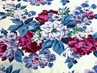 30's Cabbage Roses on Lemon Barkcloth Era Vintage Fabric Drapes Curtains Drapery