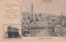 C3278) RICORDO DI BOLOGNA, PANORAMA, ALBERGO STELLA D'ITALIA E AQUILA NERA.