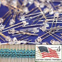 100x Blue 3mm Flat Top LEDs Wide Angle Light 12v Resistor Kit USA