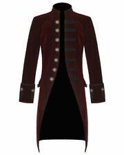 Mens Steampunk Vintage Red Tailcoat Jacket Velvet Gothic Victorian Frock Coat