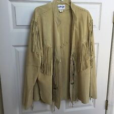 Mens Womens Primitive Western Cowboy Tribe Fringe Leather Suede Jacket Coat XL