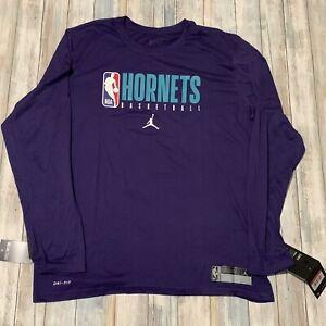 Charlotte Hornets Men's Nike Jordan Practice Legend Long Sleeve Shirt NWT Large