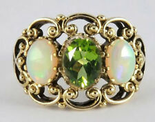 R284 WIDE Genuine 9K Solid Gold NATURAL Peridot Opal 3-Stone Trilogy Ring size O