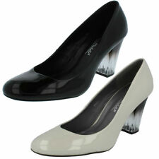 Block Standard Width (D) Wet look, Shiny Heels for Women