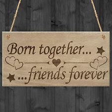 Red Ocean Born Together Friends Forever Twins Keepsake Gift Hanging Plaque