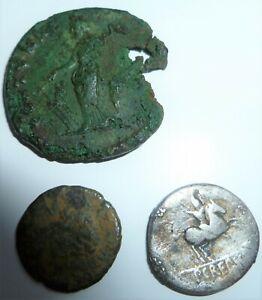 3 x ROMAN COINS INCLUDING SILVER DENARIUS