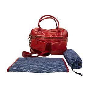 KOTO Baby Changing Bag Mat Red Patent Shoulder Handbag with Bottle Holder
