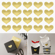 60 Golden Heart Stickers, Handmade Craft, Baker Wedding Party Favor Gift Sealing