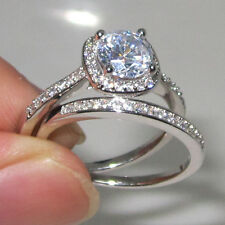 Size 5-11 Diamonique Womens 925 Silver White Sapphire Engagement Band Ring Set