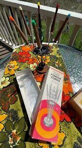 MCM Vintage Granada 6 Piece Fondue Forks w/ Stand Stainless Steel Wood w/ BOX