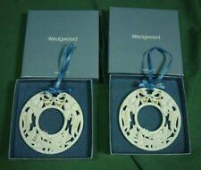 Wedgwood Noel Wreath Ornament White Jasper 1992 Lot of 2 in Box 19C037