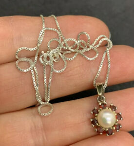 1960s, Solid Sterling Silver, Natural Garnet & Cultured Pearl Pendant & SS Chain
