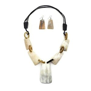 Fashion Buffalo Horn Necklace Genuine Horn Shells Natural Jewelry Earring