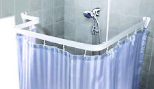 White Flexible Bathroom Shower Curtain Rail Track Pole With Hooks and Gliders