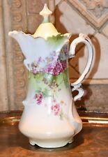 """Antique White Gold Trim Hand Painted Pink Floral Tea Coffee Chocolate Pot 10"""" H"""