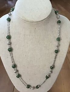 Vintage Sterling Silver & Jade Necklace Marked Mete