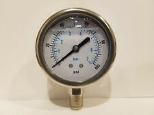 "2-1/2"" ALL STAINLESS STEEL 304 LIQUID FILLED PRESSURE GAUGE WOG 0-100 1/4"" NPT"