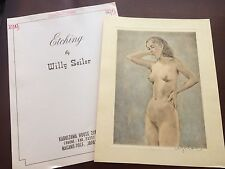 Original Willy Seiler Nude Women Etching - From Occupied Japan #3 Hand Colored