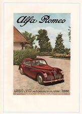 PUBBLICITA' 1949 ALFA ROMEO 2500 6C FRECCIA D'ORO ROSSA GABBIO E VICO TORINO